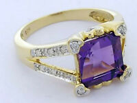 R239- Genuine 9ct Solid Gold NATURAL Amethyst & Diamond Ring Love Hearts size M
