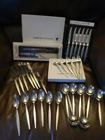 Vintage Oneida Community Abarasque Cutlery Sets Including Steak Knives ~34 piece