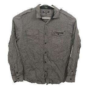 Eighty Eight Platinum Mens Shirt Size L Black & White Checkered Button Up