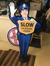 COKE SCHOOL ZONE SIGN On stand 4' VINTAGE LOOK RARE AWESOME SIGN DR PEPPER CRUSH