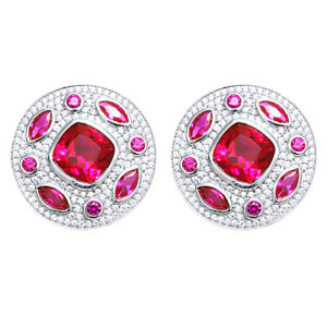 Ruby Butterfly Clip Earrings 14K White Gold Over Sterling Silver 925 - 8.90 Cttw