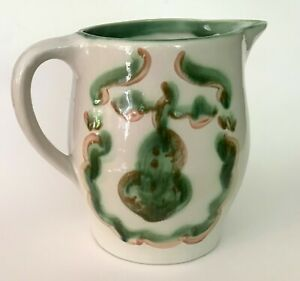 RARE LARGE Vintage M.A.Hadley Pottery Green Pear & Grapes Pitcher Jug  EXC COND!