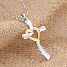 Pure 925 Sterling Silver Christian Cross Golden Heart Catholic Crucifix Necklace