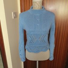 CHUNKY KNIT CROPPED SWEATER SKY BLUE SIZE 10-12 LONG BELL SLEEVES ELEGANT