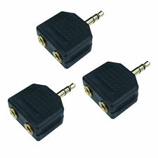 3.5mm Jack Headphone Double Twin Splitter Adaptor Stereo Plug to 2 Sockets 3PACK
