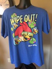"Angry Birds ""Wipe Out"" blue Casual Short Sleeve Fun Graphic T-Shirt Sz L"