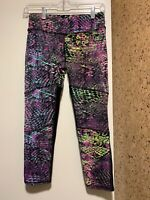 Nualime Brazilian Legging Aqua Pattern Skinny Mid Rise Fitted multicolor, sz M