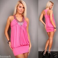 496 Clubbing Party Sleeveless Beads Mini Dress/Tunic Pink Size S/M UK 8/10