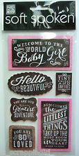~WELCOME TO THE WORLD BABY GIRL~ Soft Spoken Dimensional Embellishment Stickers