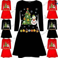 Womens Christmas Long Sleeve Snowman Tree Candy Ribbon Ladies Swing Mini Dress
