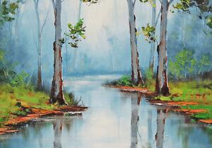 Australian Painting Landscape Bush Country Gum Trees Billabong Canvas A3