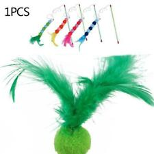 Feather Cloth Cat Teaser Wand Stick Play Toy Kitten Fun Pet Interactive Fis N3K8