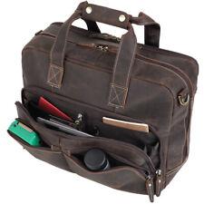 """Men Genuine Leather Briefcase 16"""" Laptop Case Shoulder Bag Handbag Satchel TOTE"""