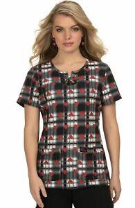 "Betsey Johnson Scrubs #110 Criss-Cross Neck Scrub Print Top in ""HTP"" Size XS"