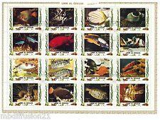 1972 - UMM AL QIWAIN - OBL./ POISSON TROPICAUX - Bloc de 16 TIMBRES PA