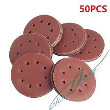 50PCS 125*0.8mm Orbital Sanding Disc 40 60 80 120 240 Grit Paper 8 Holes Sheet