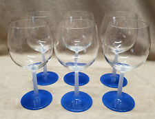 6 DONAU BLUE VILLEROY & BOCH RED WINE GLASSES from 1997 FROSTED STEMS
