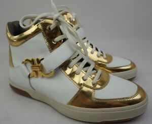 Salvatore Ferragamo Nayon Gold White Leather High Top Zip Sneakers Size 8.5 EE