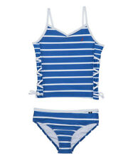 NWT GIRLS NAUTICA SWIMSUIT TANKINI ROYAL BLUE STRIPE LACE-UP 50+ UPF UV NEW 6X