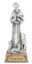 "Saint Francis of Assisi  Figurine Statue on Gold Tone Base, 4.5"", US Made"
