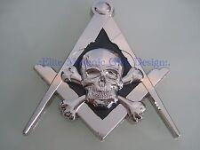 3D Masonic Master Mason Skull Car Emblem, [Silver] EliteMasonicGiftsDesign...