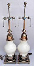 Pair Stiffel Porcelain Ostrich Egg Brass 2-Light Table Lamps Signed Vintage