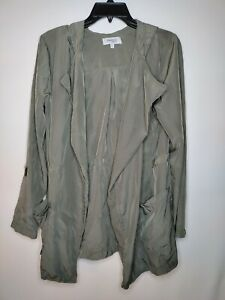 Women's Charlotte Russe Green 100% Polyester Robe W/ Hood Size M *NO DRAWSTRING*