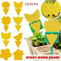 12/24X Yellow Sticky Fly Trap Traps Paper Glue Aphids Catcher Insect Flies Fruit