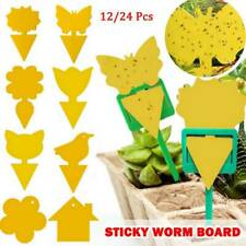 24Pcs Yellow Sticky Fly  Trap Paper Traps Fruit Flies Insect Catcher Aphids Glue