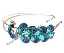 New Fashion Blue Color Crystal High Quality Metal peacock headband #788