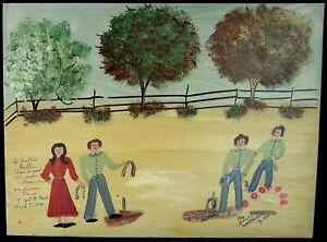 ANNIE WELLBORN FOLK ART PAINTING PLAYING HORSESHOES MEMORY PAINTER OUTSIDER