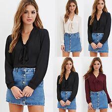 Women Long Sleeve Bow Neck Office Work Wear Casual Chiffon Blouse Tops Shirt BGO