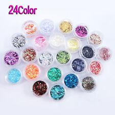 24 Farben Nail Art Pailetten Glitter Flitter Paillette DE