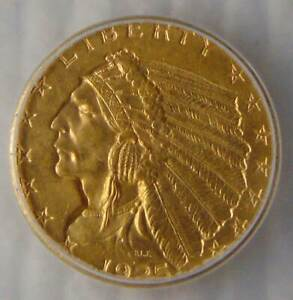 1925 D Indian Head $2.5 Quarter Eagle Gold Coin, ICG MS 61, NICE!