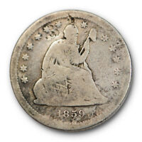 1859 S 25C Liberty Seated Quarter Very Good VG Key Date Damaged #2870