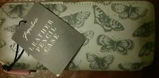Paperchase Leather Pencil Case (grey with butterflies, pink inside)
