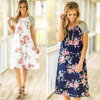 Fashion Women Summer Floral Print Loose Short Sleeve O-Neck Casual A-line Dress