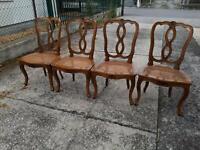 4 sedie noce paglia di Vienna Luigi XV decori intagliati sedia