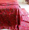 Floral Cotton Bedcover Twin Size Kantha Quilt Ethnic Indian Blanket Gudari