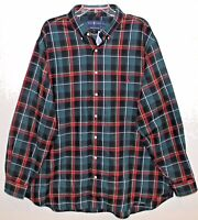 Polo Ralph Lauren Big Tall Mens Green Plaid Flannel Button-Front Shirt NWT 2XB