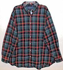 Polo Ralph Lauren Big Tall Mens Green Plaid Flannel Button-Front Shirt NWT 2XB