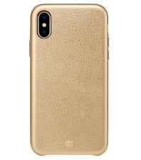 iPhone XS/X Case Cyrill Pebbled Leather Metallic Gold