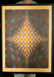 Huge Victor Vasarely OP ART Hand Signed Numbered Serigraph Screen Print Abstract