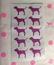 "NEW Victoria's Secret PINK Glitter Dog Stickers (1) Sheet 10pcs ""3.8cm X 2.4cm"""