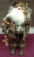 22'' Brown And Bronze Standing Santa Claus Christmas Figure With Staff