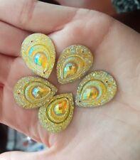 Yellow AB 25mm Sew On Stitch JEWEL GEM CRYSTAL RHINESTONE Bead Crystal DANCE
