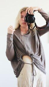 Sarah Pacini Brown Asymmetrical Lagenlook Cardigan One Size