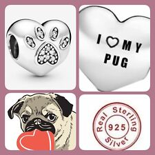 🦋💜 STERLING SILVER 925 I LOVE MY PUG DOG HEART CHARM - DOUBLE SIDED & POUCH