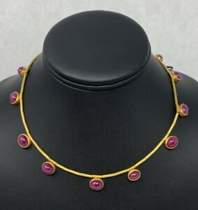 """22k Natural Ruby Cabochon Necklace High Carat Gold 16"""" 14 Rubies Hand Made"""