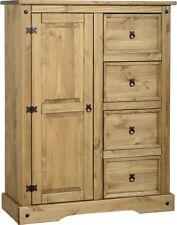 Corona Mexican Pine 1 Door 4 Drawer Low Tallboy Wardrobe